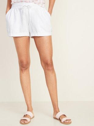 Old Navy Mid-Rise Linen-Blend Shorts for Women - 4-inch inseam