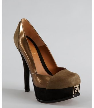 Fendi taupe and black patent leather-suede platform pumps