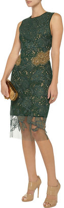 Vera Wang Embellished guipure lace dress