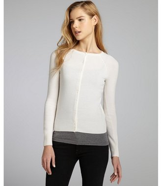 Hayden rice white cashmere crewneck cardigan sweater