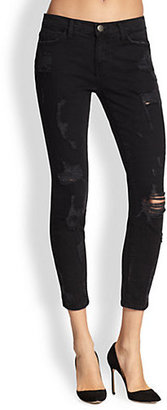 Current/Elliott Stiletto Shredded Cropped Skinny Jeans