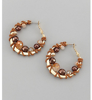 Laura Ashley Goldtone Hoop Earrings with Wrapped Beads