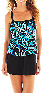 JCPenney Azul by Maxine of Hollywood Bandeau Faux Skirtini 1-Piece Swimdress