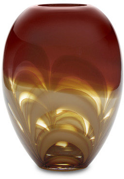 """Waterford Evolution by Red/Amber 11"""" Ginger Vase"""
