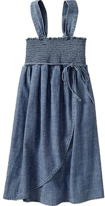 Old Navy Girls Wrap-Front Chambray Sundresses