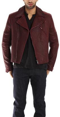 Simon Spurr Red Leather Biker Jacket