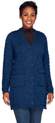Aran Craft Merino Wool Long Boyfriend Button Front Cardigan