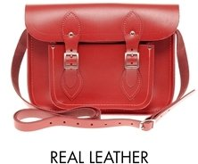 "Cambridge Silversmiths Satchel Company Red Leather 11"" Satchel - Red matte"