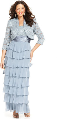 Roland Mouret R&M Richards Plus Size Dress and Jacket, Sleeveless Lace Tiered Gown