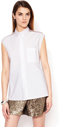 3.1 Phillip Lim Sleeveless Collared Combo Shirt