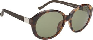 The Row Leather-Wrapped Oversized Round Frame Sunglasses-Colorless
