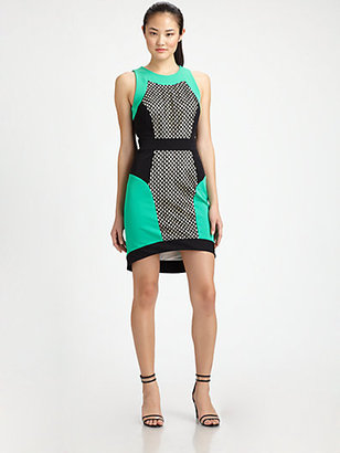 Milly Mesh-Panel Colorblock Dress