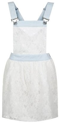 New Look Parisian Cream and Blue Lace Denim Pinafore Dress