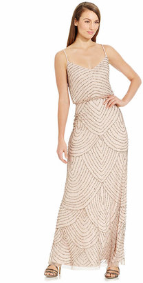Adrianna Papell Spaghetti-Strap Beaded Blouson Gown $260 thestylecure.com
