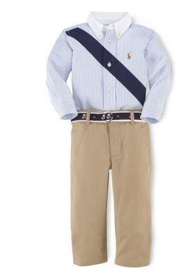 Ralph Lauren Baby Boys Striped Sport Shirt & Pants Set