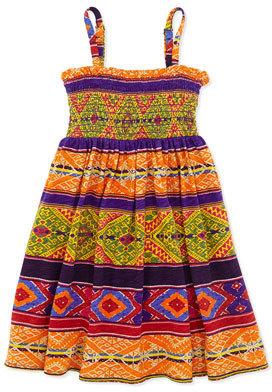 Ralph Lauren Smocked Geometric-Print Dress, Multi, Girls' 4-6X