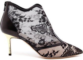 Nicholas Kirkwood Floral Lace and Leather Shoe Boots
