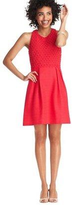LOFT Textured Lace Bodice Full Skirt Dress