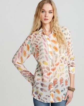 Equipment Blouse - Feather Printed Chiffon Daddy