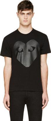 Comme des Garçons Play Black & Carbon Glossy Heart Logo T-Shirt $150 thestylecure.com