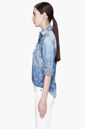 DSquared DSQUARED2 Pale blue mottled Denim Shirt