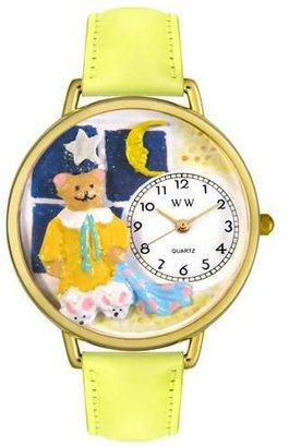 Whimsical Watches Unisex G0230006 Night Teddy Bear Yellow Leather Watch