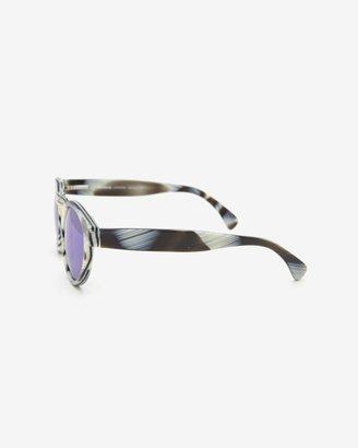 Illesteva Leonard Mirrored Lense Sunglasses: Horn