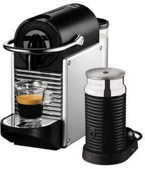 Nespresso by Delonghi EN120SAE Pixie + Aeroccino Capsule Coffee Maker: Silver