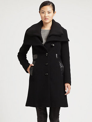 Mackage Leather-Detail Seamed Coat