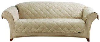 Sure Fit Sherpa/Soft Suede Sofa Throw-Taupe/Cream