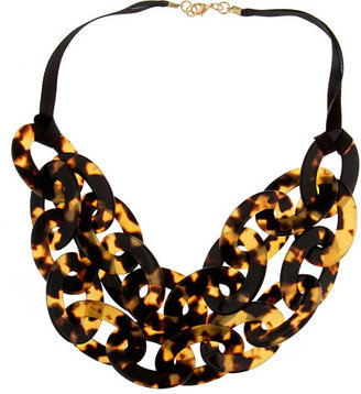 Lisa August Tortoiseshell Double-Strand Bib Necklace