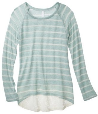 Xhilaration Junior's High Low Sweater with Crochet Trim - Assorted Colors