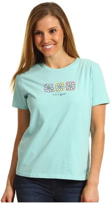 Life is Good Three Flowers Boxed Crusher Tee (Tide Blue) - Apparel
