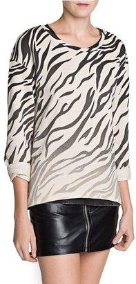 MANGO Outlet Zebra Print Cotton Sweatshirt