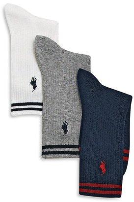Ralph Lauren Boys' Stripe Crew Socks, 3 Pack - Big Kid