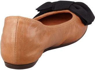 Lanvin Grosgrain-Bow Leather Ballerina Flat, Cognac