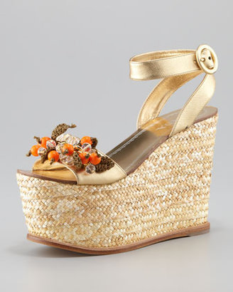 Prada Jeweled Rope Ankle Strap Wedge