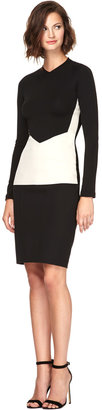 Narciso Rodriguez Color-Block Crepe Jersey Fitted Top