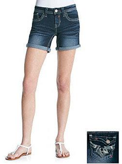 Hydraulic Bailey Embellished Pocket Roll Cuff Denim Bermuda Shorts