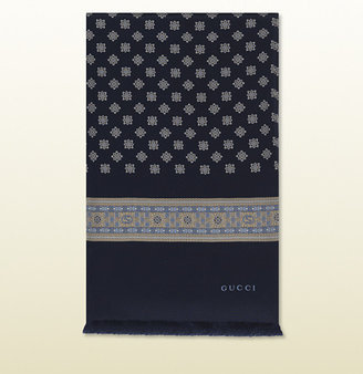 Gucci Navy And Beige Iconic Print Silk Scarf
