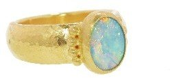 Gurhan Oval Opal on Wide Band - 24 Karat Yellow Gold