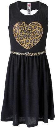 Beautees Girls Dress, Studded Belted Leopard