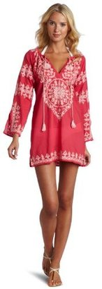 Melissa Odabash Women's Laura Cotton Embroidered Kaftan Top