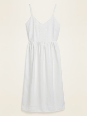 Old Navy Fit & Flare Linen-Blend Lace-Trim Cami Dress for Women