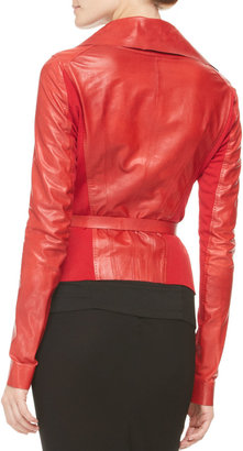Donna Karan Belted Double-Collar Leather Jacket