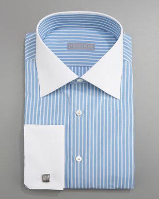 Stefano Ricci Striped French-Cuff Dress Shirt, Blue/White