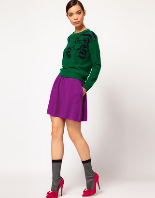 Sonia Rykiel Sonia by High Waisted Full Skirt in Mixed Tones