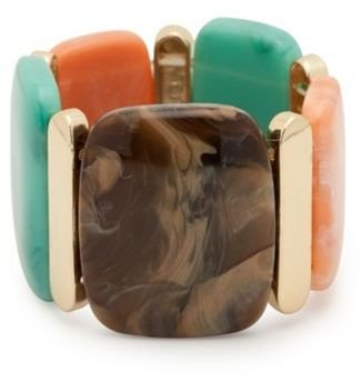Multi Resin And Gold Metal Station Stretch Bracelet