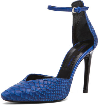 Proenza Schouler Python Embossed Leather Ankle Strap Pumps in Blue