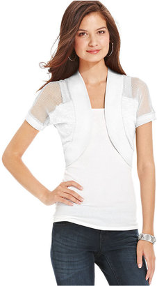Planet Gold Juniors Sweater, Short Sleeve Fishnet Bolero Shrug